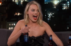 Margot Robbie knocked back some Harp with Chris Pratt on the Jimmy Kimmel show last night