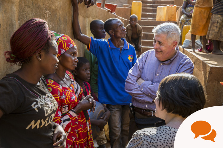 Concern CEO Dominic MacSorley and Chairman Tom Shipsey visit a protected spring in Boyali, Central African Republic.