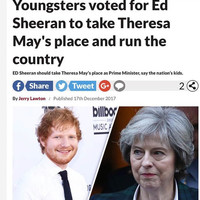 Ed Sheeran responded to a poll that said young people want him to become the next UK Prime Minister... it's the Dredge