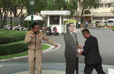 Thailand's PM tells reporters to direct questions on 'politics or conflict' to this cardboard cutout