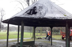 Pictures: The aftermath after wheelie bin set alight in old disused bandstand in Dublin park