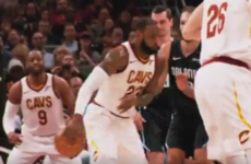 Nothing to see here, just LeBron James with the no-look nutmeg assist