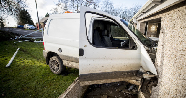 A white van crashed into a pensioner's kitchen in Co Down last night