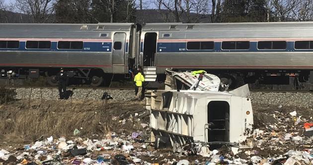 Train full of Republican politicians collides with truck, one killed on board truck