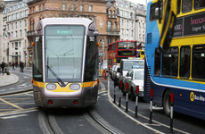 New longer Luas tram blocks traffic after its back carriage sticks out past O'Connell Bridge
