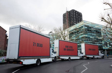 Grenfell campaigners drive 'three billboards' through London