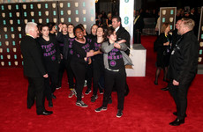 Domestic violence protesters invaded the BAFTA red carpet last night in support of Time's Up