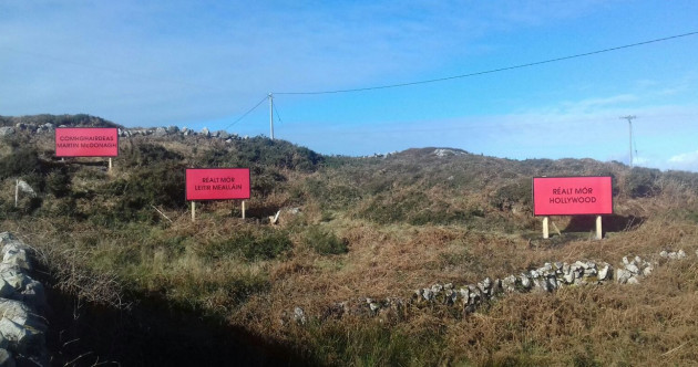 Three billboards erected outside small Galway village in honour of Martin McDonagh