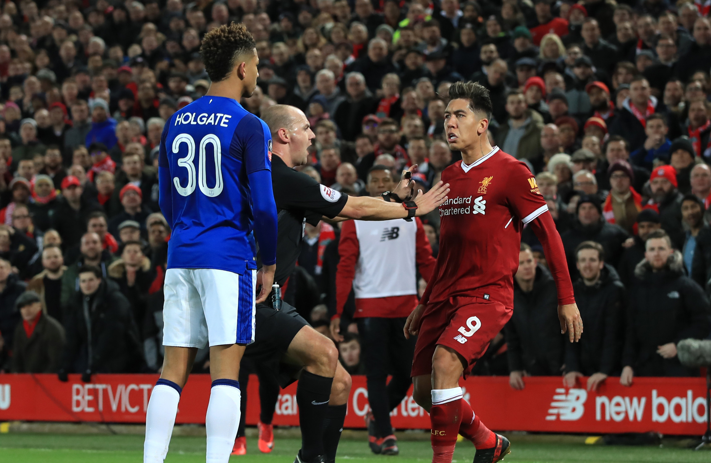 Roberto Firmino faces no action over Mason Holgate clash in Merseyside derby