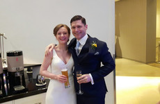 White wedding: This couple tied the knot just before Dublin's 4pm 'curfew' today