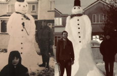 A family in Naas have brilliantly recreated a photo they took with a snowman 21 years ago