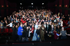 Jimmy Kimmel and a bunch of A listers crashed a nearby movie screening during the Oscars