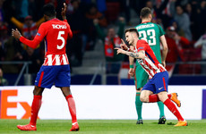 This bullet from Saul Niguez helped Atletico Madrid earn a comfortable win in the Europa League tonight