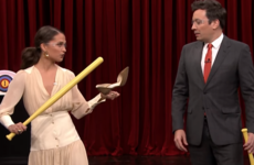 Alicia Vikander teaches Jimmy Fallon how to play 'Irish Christmas Eve', and we're confused