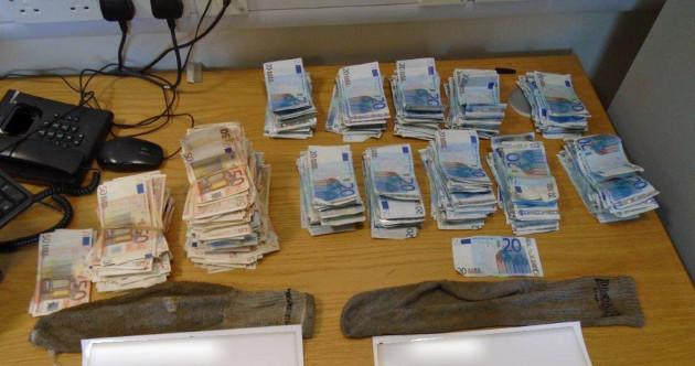 Gardaí find thousands of euro hidden in socks after man runs away from checkpoint