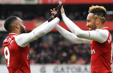 Aubameyang bags two and gifts Lacazette another as Stoke's relegation worries deepen