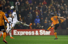 Portuguese midfielder Ruben Neves hits an outrageous dipping volley for Wolves