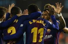 Celta Vigo push them close but 10-man Barca hang on to unbeaten record