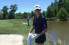 The pants are off! Justin Rose strips down to his underwear to play shot from water hazard