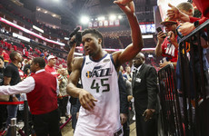 Game on! Mitchell dunks his own rebound as Jazz level series with #1 seed Rockets