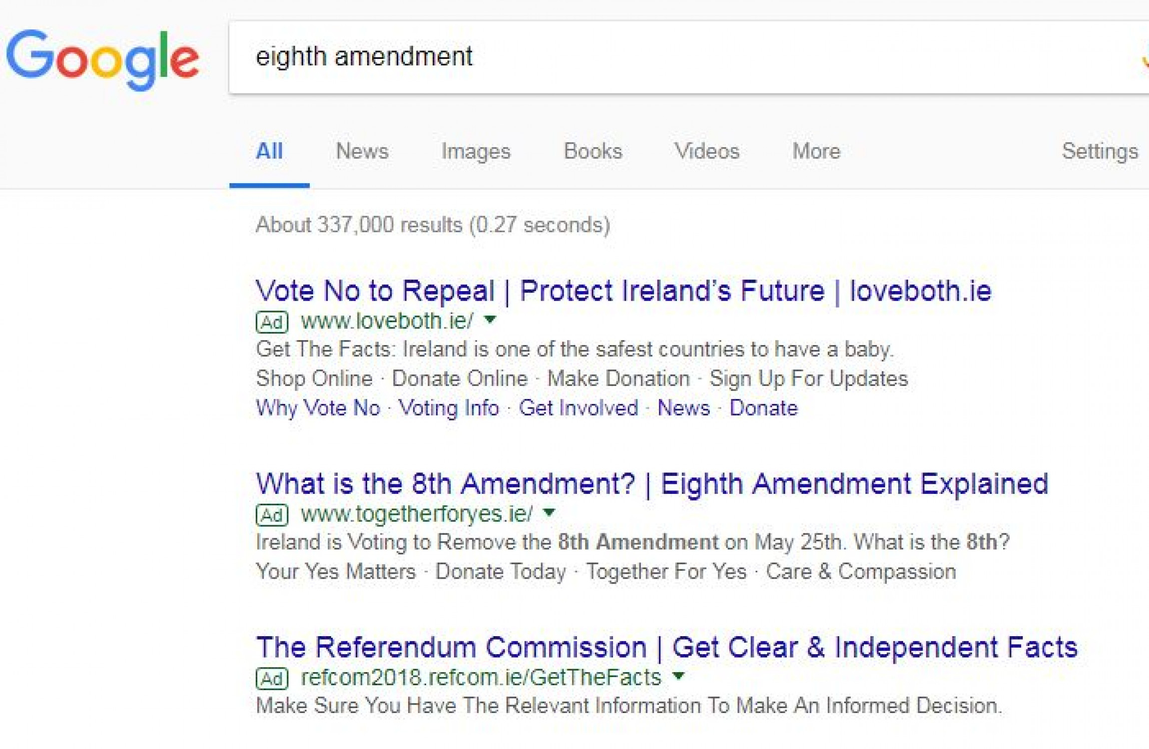 Google suspends all ads on Eighth Amendment referendum