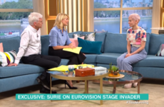 UK Eurovision singer SuRie told Phillip and Holly that the stage invader who stole her mic left her with bruises