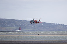 Coast Guard helicopter rescues woman and her dog cut off by the tide