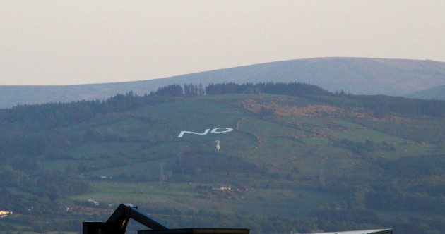 A giant No sign has just been erected in the Dublin Mountains