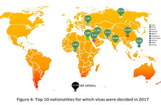 Here are the top 10 countries outside Europe that requested visas to Ireland