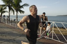 Lance Armstrong got pipped inches from the finish line of an Ironman race yesterday