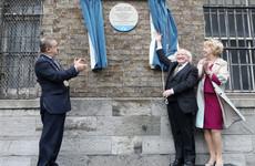 President Higgins unveils plaque at Dublin Castle where an Irish suffragette smashed a window