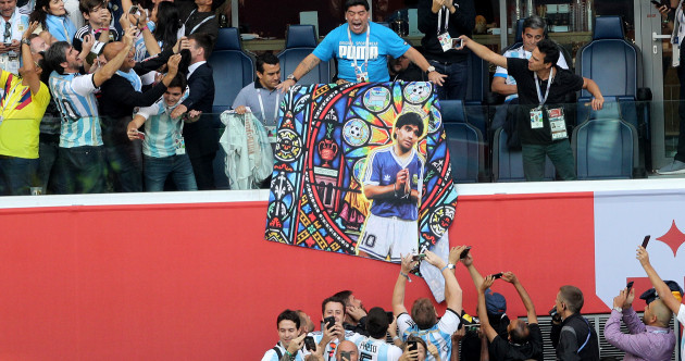 Maradona receives treatment after Argentina's dramatic win
