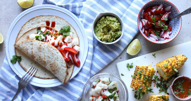 The perfect lazy dinner: 10-minute Fish Tacos with Coriander Buttered Corn