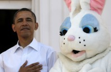US President Singing the National Anthem with the Easter Bunny of the Day
