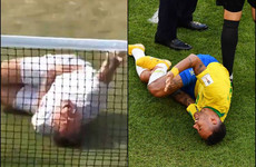 Tennis player mocks Neymar's diving at Wimbledon