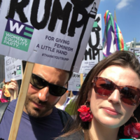 Saoirse Ronan, Chris O'Dowd and Aisling Bea showed support during yesterday's Trump protests