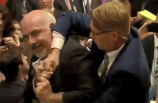 Protester forcibly removed from Trump-Putin press conference venue