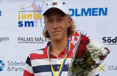 Bjorn Borg's 15-year-old son won another Swedish junior title yesterday