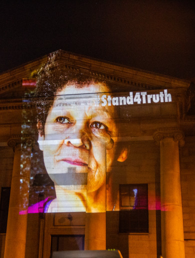 Photos of people who spoke out about Church abuse projected onto Dublin buildings