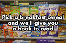 Pick a breakfast cereal and we'll give you a book to read
