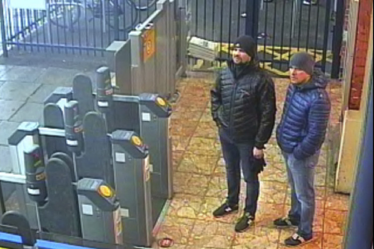A still from CCTV issued by the Met Police in London showing the two men at Salisbury train station on 3 March
