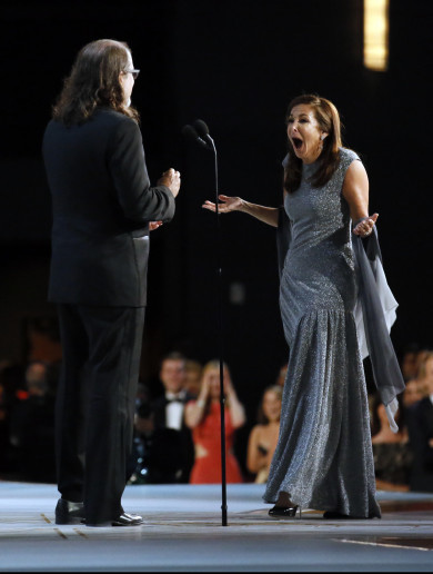 There was a marriage proposal on stage at the Emmy Awards last night