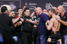 McGregor, with a tricolour-wielding Drake in his corner, clashes with Khabib during final face-off