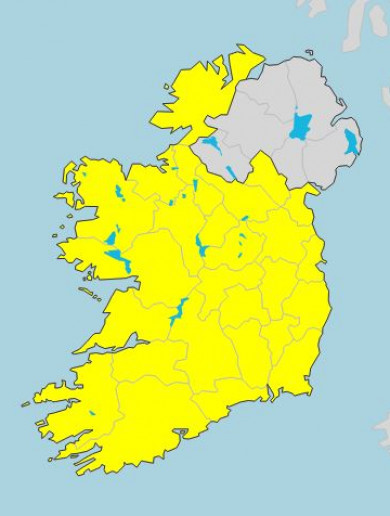 Status Yellow weather alert issued for whole country
