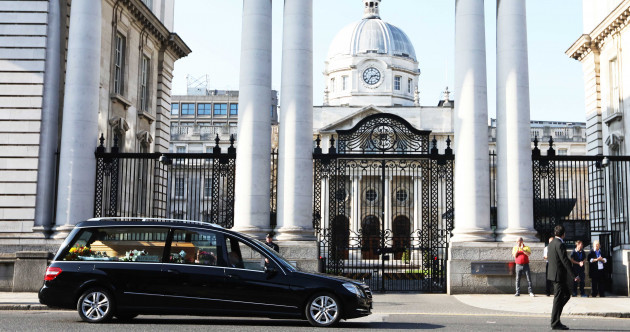 Funeral cortège of Emma Mhic Mhathúna passes by Leinster House