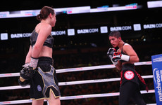 Taylor toys with tough Cindy Serrano and retains titles in Boston as a 'Notorious' fan watches on