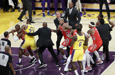 LeBron James acts as peacemaking as LA Lakers home debut ends in ugly brawl