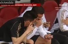 WATCH: Xabi Alonso keeps Jose Mourinho updated on the FA Cup final