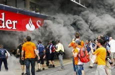 VIDEO: The fire which broke out at the Barcelona Grand Prix yesterday