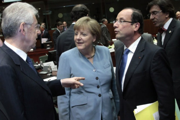 Angela Merkel and Francois Hollande at this evening's EU summit.